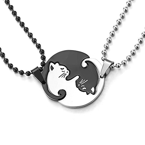 COOLSTEELANDBEYOND Pair Steel Black Silver Matching Kitty Cat Friendship Pendant Necklace, Lovers Couples Friends