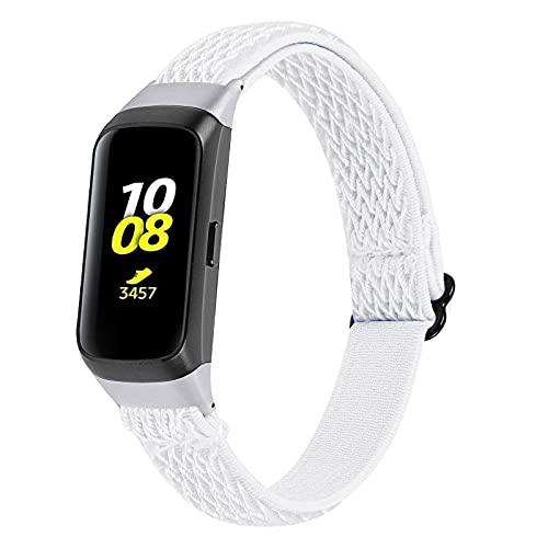 KangPlus Correas compatibles con Samsung Galaxy Fit SM-R370, correa de reloj Jennyfly para mujer y hombre, ligera, suave, elástica, ajustable, 13,5-21,1 cm, transpirable, de repuesto, color blanco