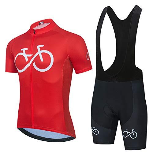 Herren Radtrikot Set Atmungsaktiv Schnelltrocknend Jersey Shirts Kurzarm + Radhose Mit 3D Sitzpolster Outdoor Fahrradbekleidung. F,4XL