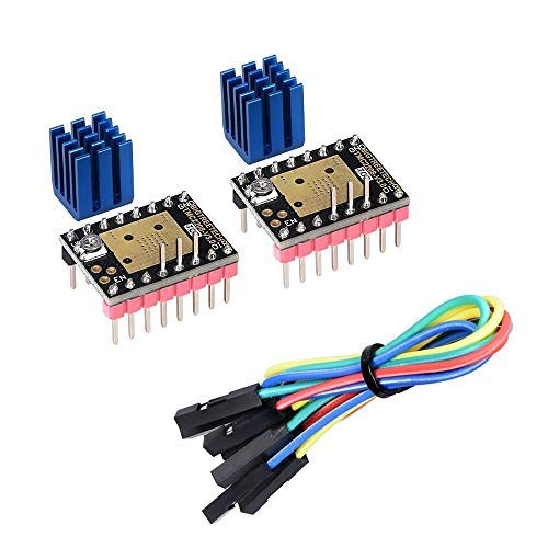 KINGPRINT TMC2208 V3.0 Controlador de motor paso a paso en modo UART con disipador térmico para SKR V1.3 MKS GEN L Rampas 1.4 / 1.5 / 1.6 Tablero de control de impresora 3D (paquete de 2 piezas)