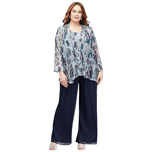 David's Bridal Crinkled Metallic Plus Size Pantsuit Style 950552, Navy, 14W