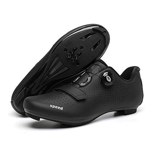 JINFAN Zapatillas de Ciclismo Hombre Dial Bicicleta de Carretera SPD/SPD-SL Ciclismo Interior Compatible con Ejercicio Doble Trinquete MTB Cleat Ciclismo,Black-3.5UK=(230mm)=36EU