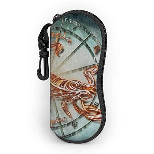 Sonnenbrille Brillenetui Skorpion Tasche Kratzfest staubsichere Brillenbox mit Gürtelclip für Schlüssel, Bleistifte, Karten