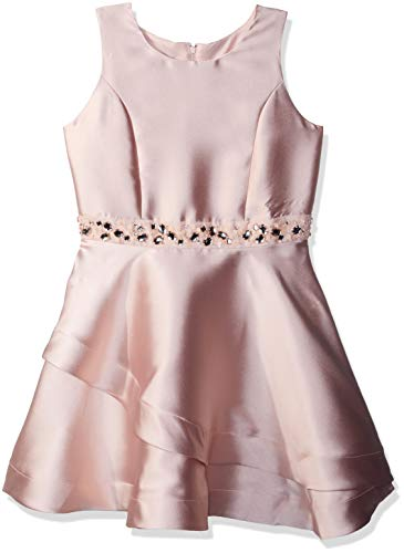 Amy Byer Girls' Big Sparkle Waist Party Dress with Asymetrical Double Skirt, Rose Gold, 10