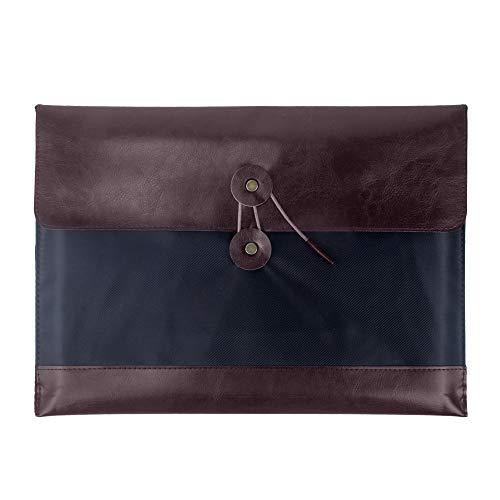 Oak-Pine Vintage Portable PU Leather with Oxford Cloth A4 File Folder Multi-Pocket Document Wallet Paper Holder Files Record Bag Business Handbag Storage Organizer Briefcase