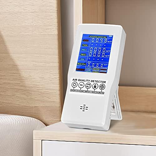 4YANG Comprobador de Calidad del Aire, Medidor de CO2 Profesional,Pruebas precisas para formaldehído HCHO TVOC CO2 PM2.5 PM10 Temperatura(3 años de garantía +Manual electrónico español)