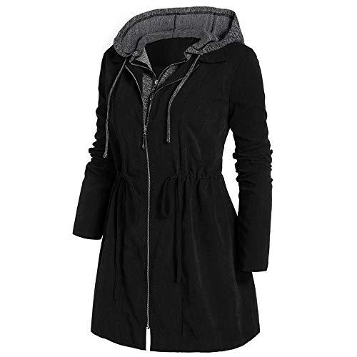 Parka de invierno con capucha, talla grande, para mujer, gruesa, abrigo de nieve, chaqueta de algodón, a la moda larga, paraguas de calle para mujer, color negro