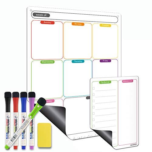 Mag-Fancy Calendar Set - Rainbow Color Vertical Weekly + Notepad, Includes 5 Dry Erase Markers & 1 Eraser