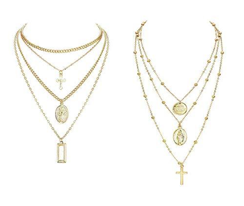 Finrezio 2 Piezas Collar Corto en Capas Mujer Niña Etiqueta Moneda Cruzar Virgen Maria Colgante Collar Cadena Tono Plateado Tono Dorado