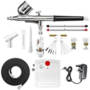 Gocheer Airbrush Set, Airbrush Gun Complete Kit Dual-Action,Mini Airbrush Compressor with 0.2 0.3 0.5mm Nozzles and Needles, Airbrush Cleaning Needle,for Model,Makeup,Nail Art,Tattoos, crafts