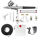 Gocheer Airbrush Set, Airbrush Gun Complete Kit Dual-Action,Mini Airbrush Compressor with 0.2 0.3 0.5mm...
