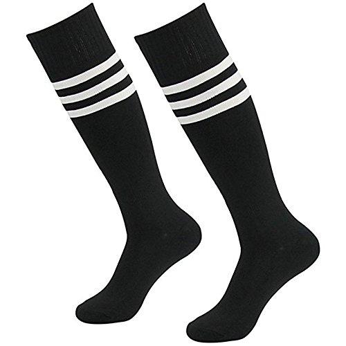 Dosige Streifen Kniestrümpfe Sport Strümpfe Overknee Sportsocken Lang Baseball Fußball Rugby Cheerleader Socks für Männer Frauen Damen Mädchen Schwarz