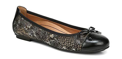 Vionic Women's Spark Minna Ballet Flat - Ladies Ballet Flat with Concealed Orthotic Arch Support Medium 8.5 Pewter Boa US
