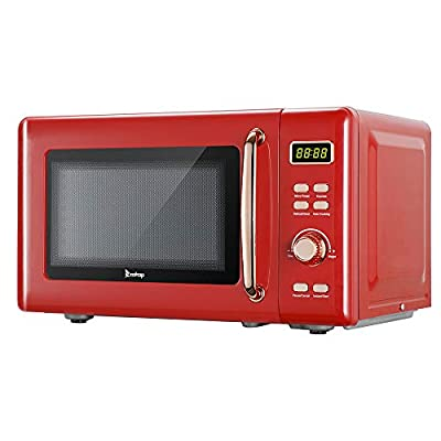 20L / 0.7cuft Retro Microwave With Display/Golden Handle, Countertop Retro Microwave Oven With Glass Tray And Roller Ring (Red)