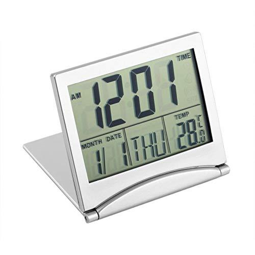 greenwoodhomer - Reloj de escritorio plegable y portátil con pantalla LCD digital, termómetro, calendario, reloj despertador con cubierta flexible para datos y hora