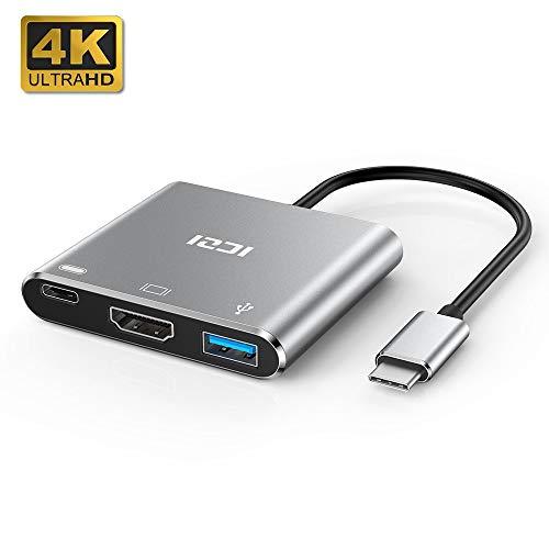 ICZI Adaptador USB Tipo C a HDMI de Aluminio, Adaptador USB C Thunderbolt 3 a HDMI 4K Dex Station USB 3.0 USB-C Power Delivery para Huawei Mate 10 Samsung S10 Macbook Pro, iPad Pro 2018, Gris