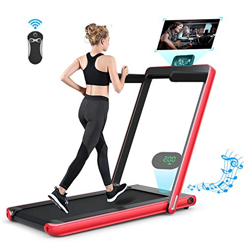 Safeplus Folding Portable Treadmill for Home, 2 in 1 Electric Space Saving Fitness Motorized Walking Running Machine with Bluetooth Audio Speakers and Phone Holder Treadmills
