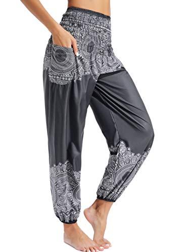 Pantalones de Yoga Mujer Harem Boho del Lazo del Pavo Real Flaral Funky #2 Flor Impresa-G