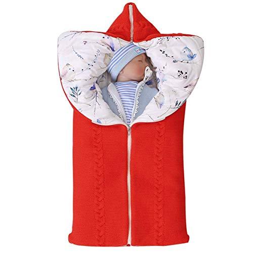 Einstellbare Neugeborene Baby Swaddle Decke Kinderschlafsack Kinderwagen Wrap Schlafsack Winter-Baby Swaddle Sack Decke Für 0-6Months Mädchen Und Jungen,Rot