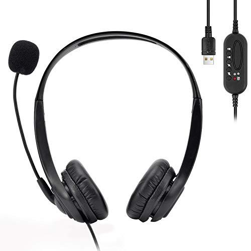 USB Headset Binaural, PC Headset, Computer Kopfhörer mit Geräuschunterdrückendem Mikrofon, USB Kabel Headset mit Lautstärkeregler für Skype, Webinar, Call Center, Online Unterricht, Spiele, PC
