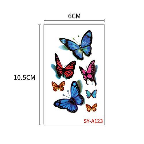 Handaxian 10pcs-Autocollant de Tatouage Papillon plaie Noire Bleue 3D 3D Tatouage Fleur de Papillon Sueur imperméable Autocollant Enfant 10pcs-19