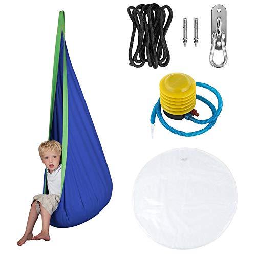 Juego completo de hamaca Rock1ON para niños, bolsa inflable, 100% algodón, bolsas de almacenamiento, sillas giratorias, tienda de campaña para interiores y exteriores, azul
