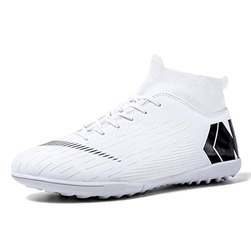 Men's Football Boots High Top Spikes Cleats Sock for Outdoor Indoor Competition Training Professional Sneakers Soccer Shoes Boys Athletic Shoes White