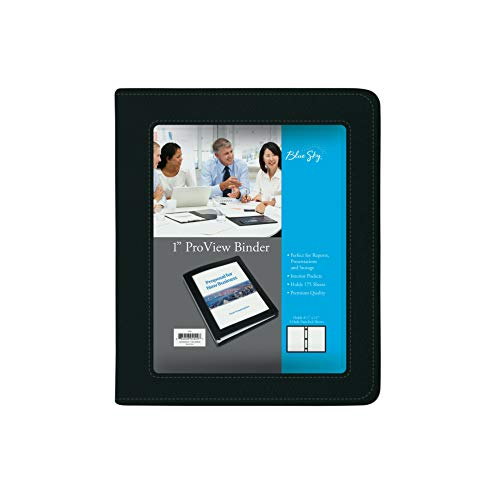 """Blue Sky ProView 3 Ring View Binder, Letter Size, 1"""", Black Leather-Like Textured Cover, Built-in Pockets, Holds 175 Sheets"""