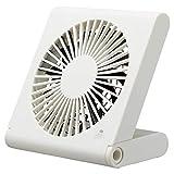ドウシシャ 卓上扇風機 スリムコンパクトファン 3電源(AC USB 乾電池) 風量3段階 静音 ピエリア ホワイト