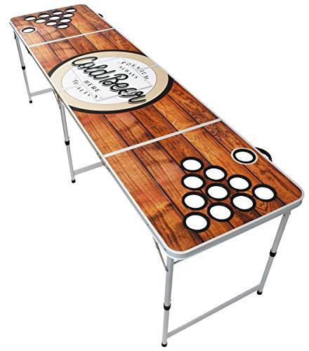 Original Premium Premium Beer Pong Mesa – Madera – Incluye compartimento para hielo, 6 bolas de Beer Pong y soporte para vasos (sin vasos)