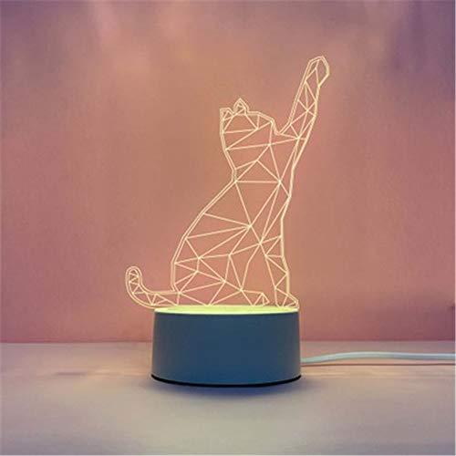 Fósforo Explosión 3d luz nocturna creativa dormitorio pequeño lámpara de mesa led regalo mesa lámpara usb luz de noche, Acrílico + ABS., A (gato geométrico), 4*1.6IN