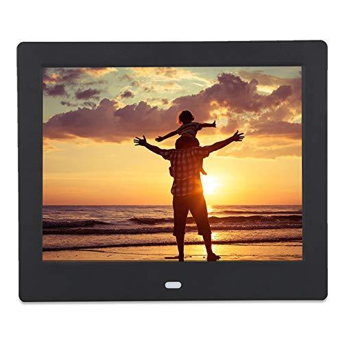 Marco de fotos, VBESTLIFE110-240V, digital, 8 pulgadas, se puede utilizar como despertador, reloj, calendario, etc. (negro)