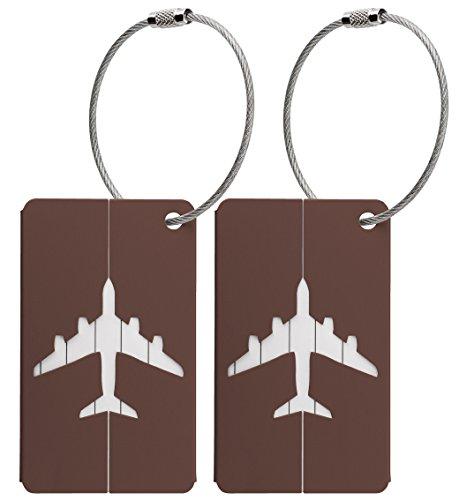 Kofferanhänger aus Metall mit Namensschild und Flug-Motiv 2 Stück (Braun metallic)