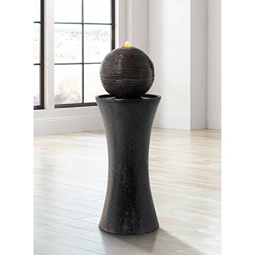 """John Timberland Dark Sphere Modern Zen Outdoor Floor Water Fountain with Light LED 30"""" High Bubbler Pillar for Yard Garden Patio Deck Home"""