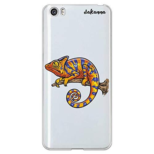 dakanna Funda Compatible con [Xiaomi Mi5 / Mi 5] de Silicona Flexible, Dibujo Diseño [Camaleón en la Rama], Color [Fondo Transparente] Carcasa Case Cover de Gel TPU para Smartphone