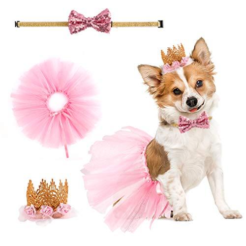 Bingpet Valentinstags-Hund, Hochzeitskleid für Mädchen – Puppy Geburtstag Party Zubehör – niedliches Tutu Rock, Fliege und Krone, Hut-Set, rosa Geschenk für kleine Hunde und Katzen