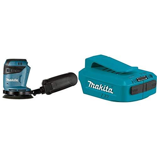 Makita DBO180Y1J Lijadora excéntrica 18 V, Negro, Azul + Makita DEAADP05 - Adaptador USB, 18 V, color azul