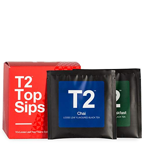 T2 Tea Top Sips - Assorted Tea Sampler Gift Box, 10 Loose Sachets, 51g