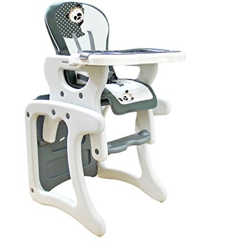 Trona para bebé convertible en mesa y silla, modelo panda gris. Trona o silla para niños. Regalo incluido babero