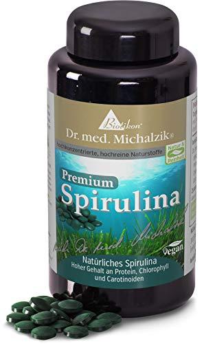 Spirulina Premium - naturbelassene vegane blaugrüne Alge - nach Dr. med. Michalzik - 400 mg je Pressling Naturpulver - HOHE Nährstoffdichte - REICH an Chlorophyll, Proteine & Vitamine von BIOTIKON®