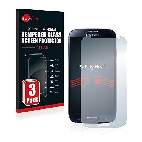 Savvies Panzerglas kompatibel mit Samsung Galaxy S4 Value Edition I9515 (3 Stück) - Echt-Glas, 9H Härte, Anti-Fingerprint