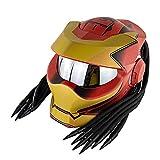 GENGJ Motocross cara completa de cara abierta depredador con luces decorativas LED totalmente protector de casco para hombre y mujer, ventilación avanzada, cascos modulares con sistema, L