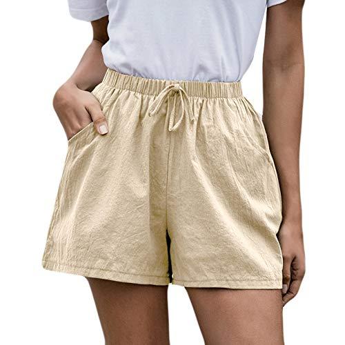 WUAI-Women Casual Shorts Plus Size Comfy Elastic Waist Drawstring Baggy Cotton Summer Beach Shorts with Pockets(Khaki,XX-Large)