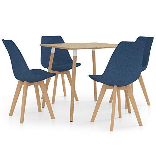 Tidyard Conjunto de Mesa sillas,Mesa Salón y Sillas Modernos 6# Juego de Comedor 5 Piezas Azul
