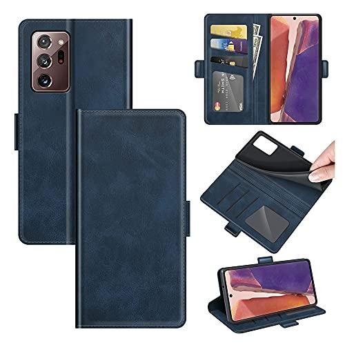 AKC Funda Compatible para Samsung Galaxy Note 20 Ultra Carcasa Caja Case con Flip Folio Funda Cuero Premium Cover Libro Cartera Magnético Caso Tarjetero y Suporte-Azul