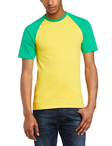 Fruit of the Loom Herren Regular Fit, T-Shirt, Baseball, 61-026-0-Sunflower/ Kelly, GR. X-Large (Herstellergröße: X-Large), Mehrfarbig