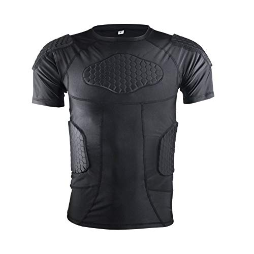 Men's Padded Compression Shirt Protective Short Sleeve T Shirt Rib Chest Protector for Football Baseball Soccer Basketball Bike Rugby Paintball Snowboard Ski Volleyball Training-Adult