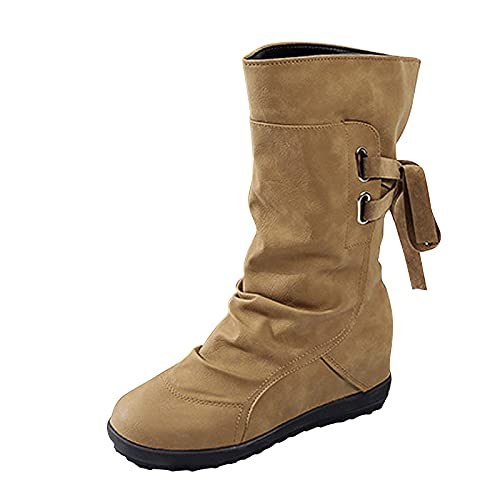 DKBL Long Boots for Women Platform Long Boots Winter and Autumn Boots Lace Up Boots Cashmere Warm Snow Boots Brown