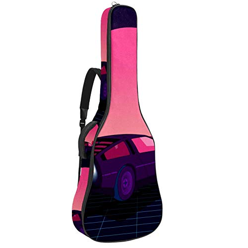 TIZORAX - Funda para guitarra acústica, diseño retro, color azul