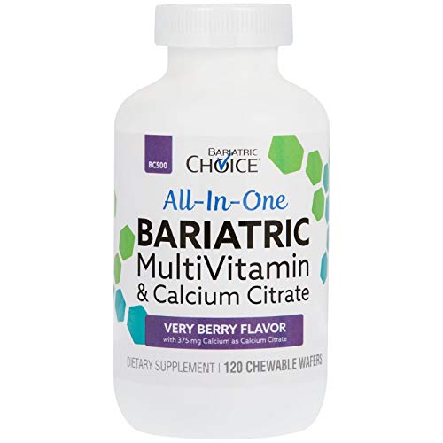 Bariatric Choice - All-in-One Bariatric MultiVitamin - Designed for Post Bariatric Surgery - Chewable Vitamin Supplements with 375 mg Calcium Citrate - Very Berry - 120 ct